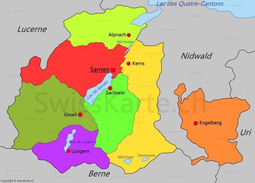 Carte du canton dObwald CH Pinterest