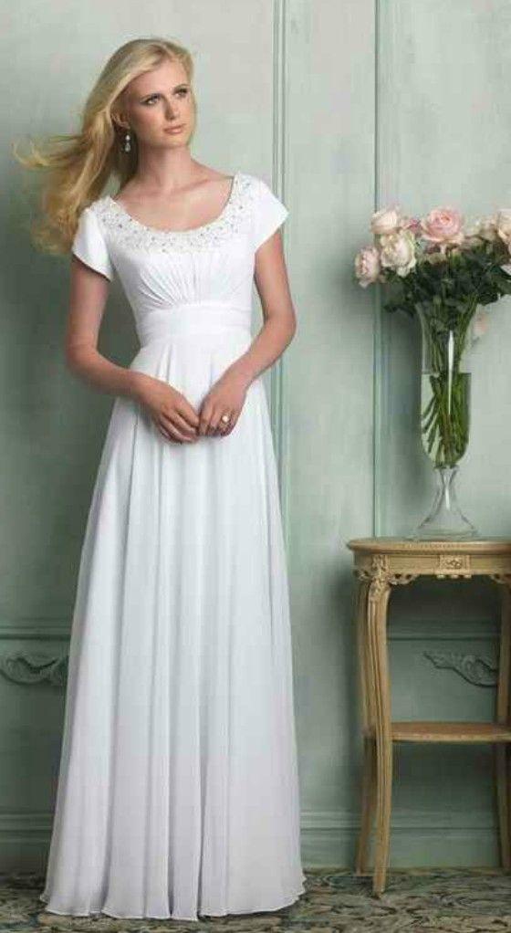 Modest Short Sleeves Wedding Dress For Older Brides Over