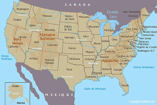 Carte Usa Etats.Carte Des Etats Unis French Materials Road Trip Usa Map