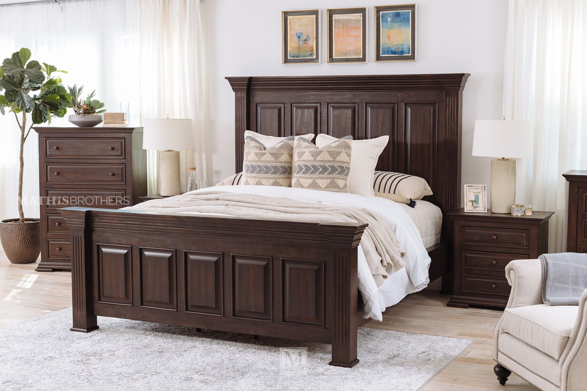 72'' Traditional Panel Bed in Brown Mathis Brothers