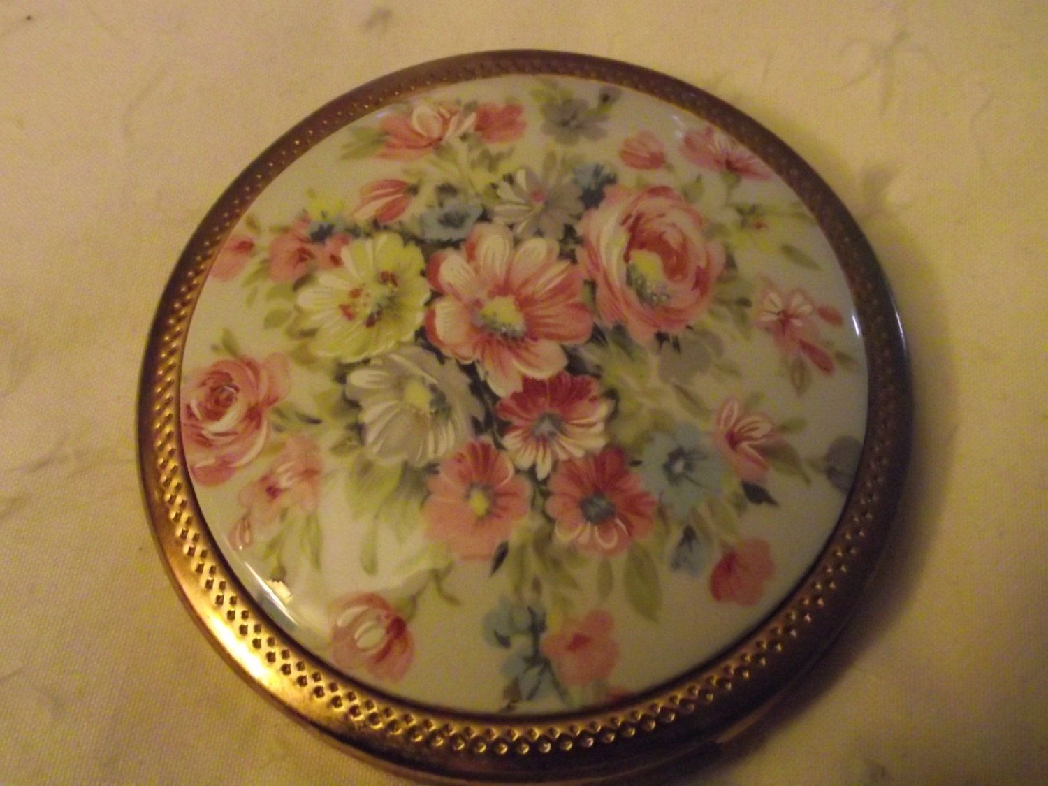 vintage powder compact with porcelain inset