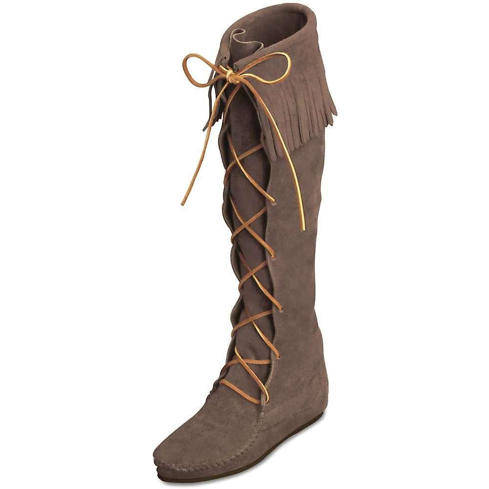 Order cheap Minnetonka Front Lace Hardsole Knee Hi Womens Black Suede Autumn / Winter 2016 Online Shopping