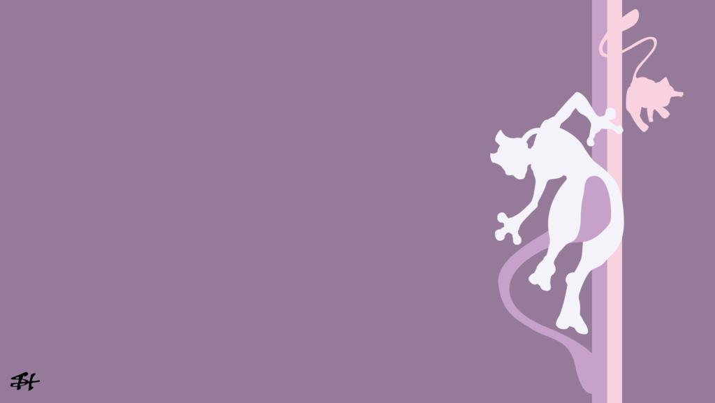 Mew and Mewtwo (Pokemon) Minimalist Wallpaper by slezzy7