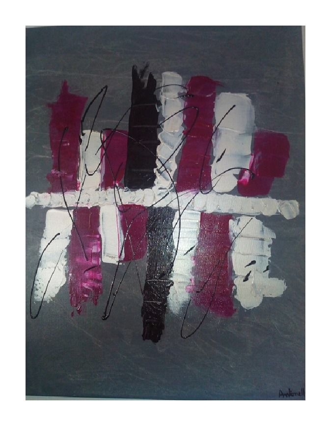 Tableau moderne abstrait gris et rose tableau for Art moderne abstrait
