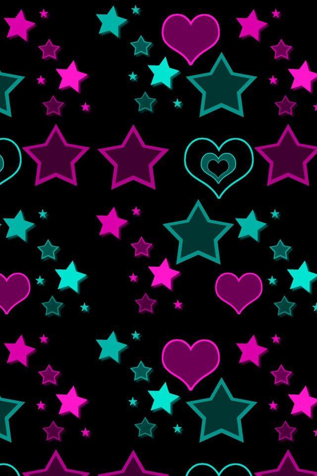 Green & purple stars & hearts Wallpaper iphone cute