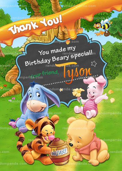 Winnie And The Pooh Baby Thank You Card Tigger Birthday Party