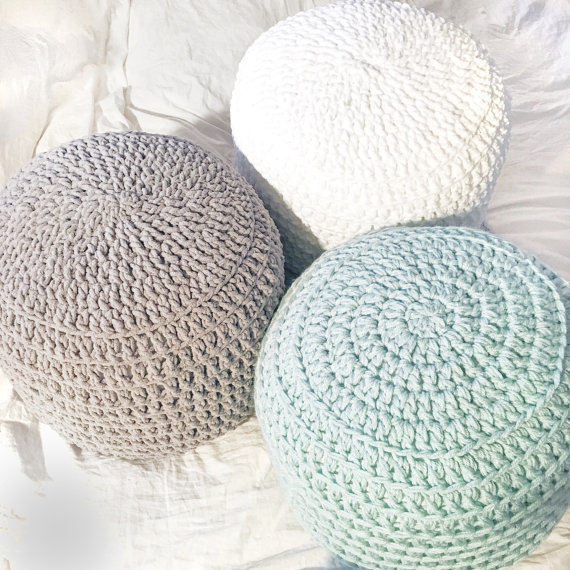 White Pouf Ottoman Mint Green White Grey Hand Crochet Pillow Ottoman Pouf Footstool
