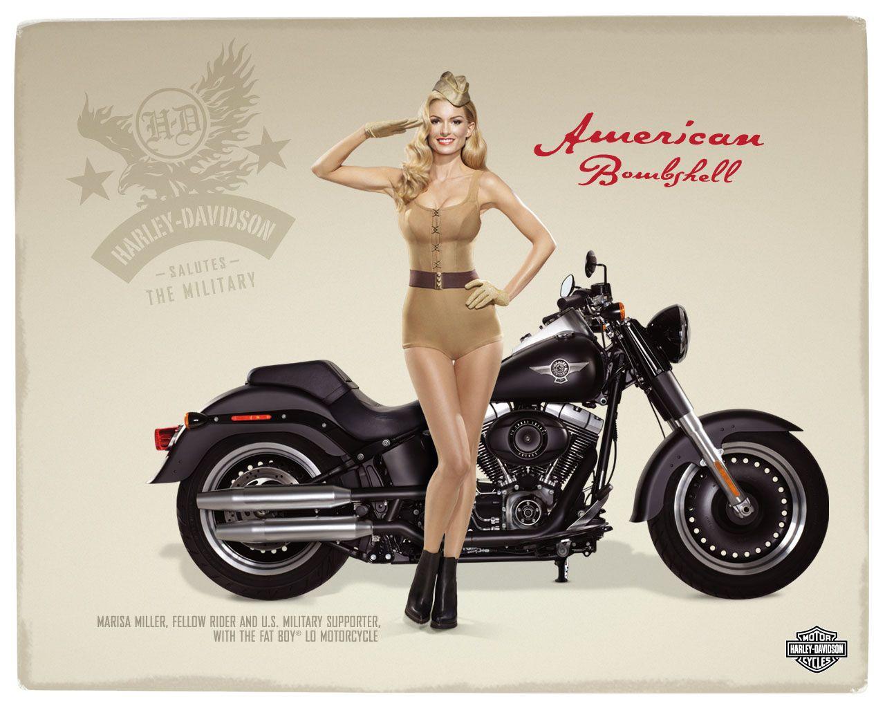 Pin up motorcycle line art jpg - Marisa Miller And Harley Davidson Pin Up Style Ads Pin Up And Cartoon Girls Art