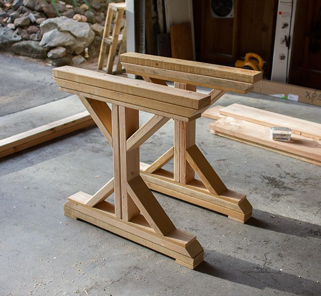 Kitchen chronicles building a fancy x farmhouse table for Kitchen table designs plans