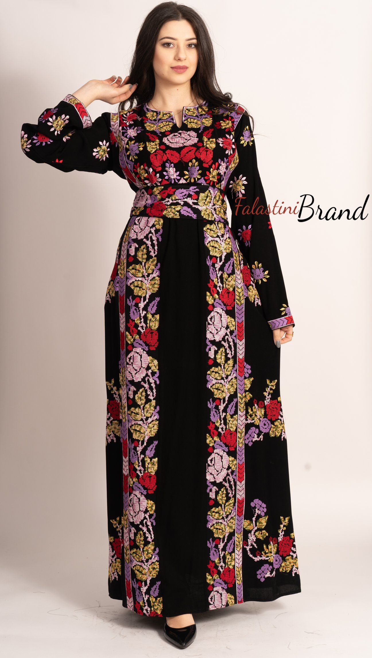 C1 Amazing Floral Palestinian Embroidered Thobe Dress Long Sleeves Cross Stitch Embroidery Falastini B Long Sleeve Dress Palestinian Embroidery Dress Dresses [ 2289 x 1296 Pixel ]