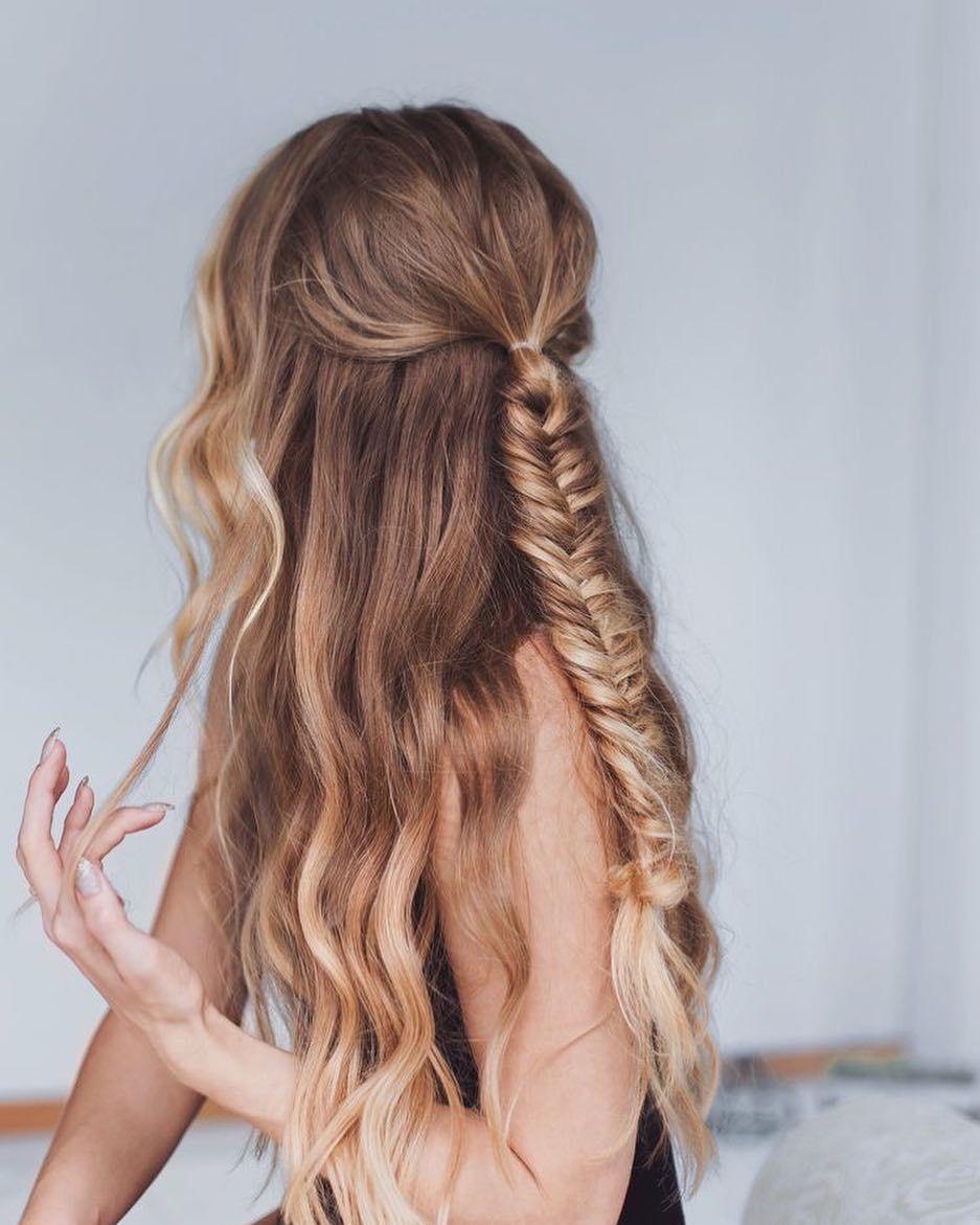 fishtail braid half up half down hairstyle #bohohair #fishtailbraid #halfuphalfdown