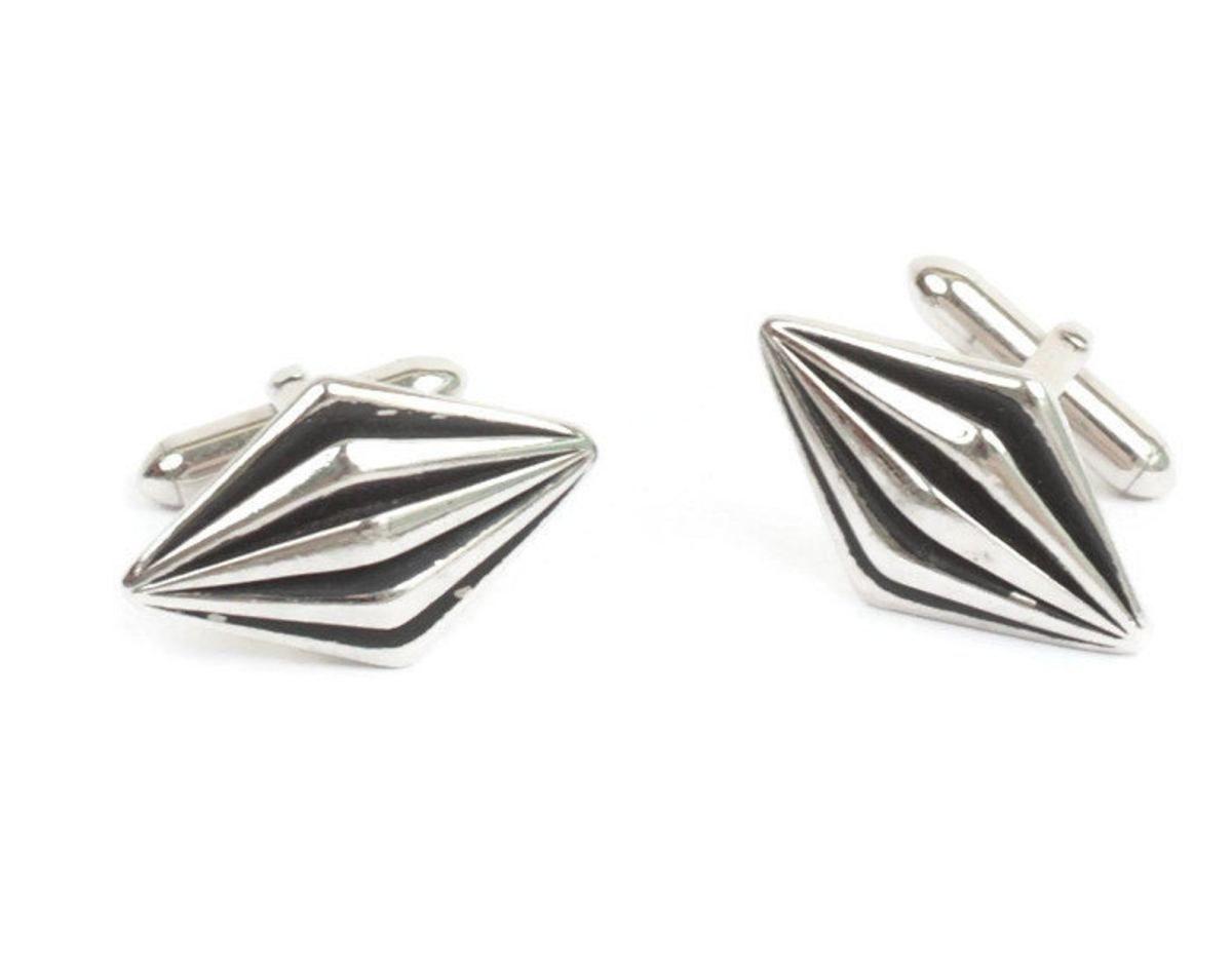 Black /& Silver Tone Cuff Links Cufflinks for Men Nice Design