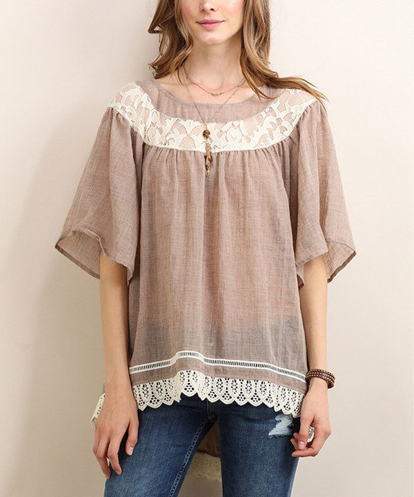 Look at this Tassels N Lace Rust & White Lace Trim Top on #zulily today!