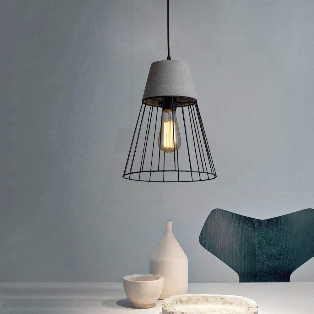 AFFILIATELINK   CBJKTX Hängeleuchte Esstisch Betonlampe Vintage  Pendelleuchte Pendellampe Höhenverstellbar Hängelampe Esstischlampe, E27  Leuchtmittel Für