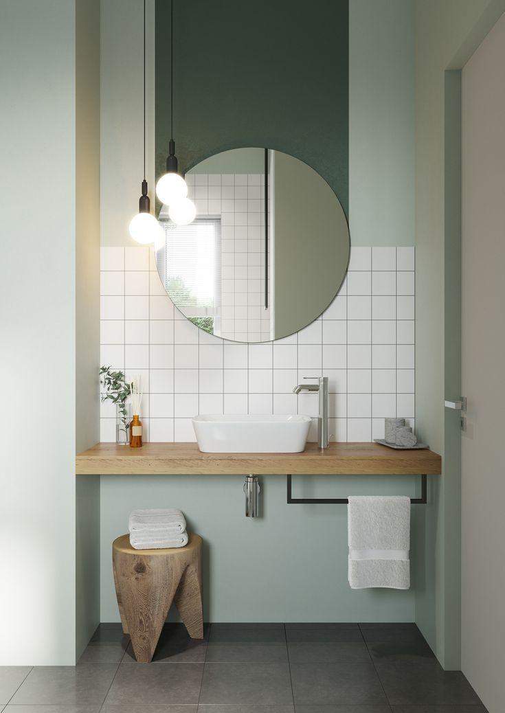 Modernes Badezimmer Weisse Fliesen Pastell Pastellgrun Grun