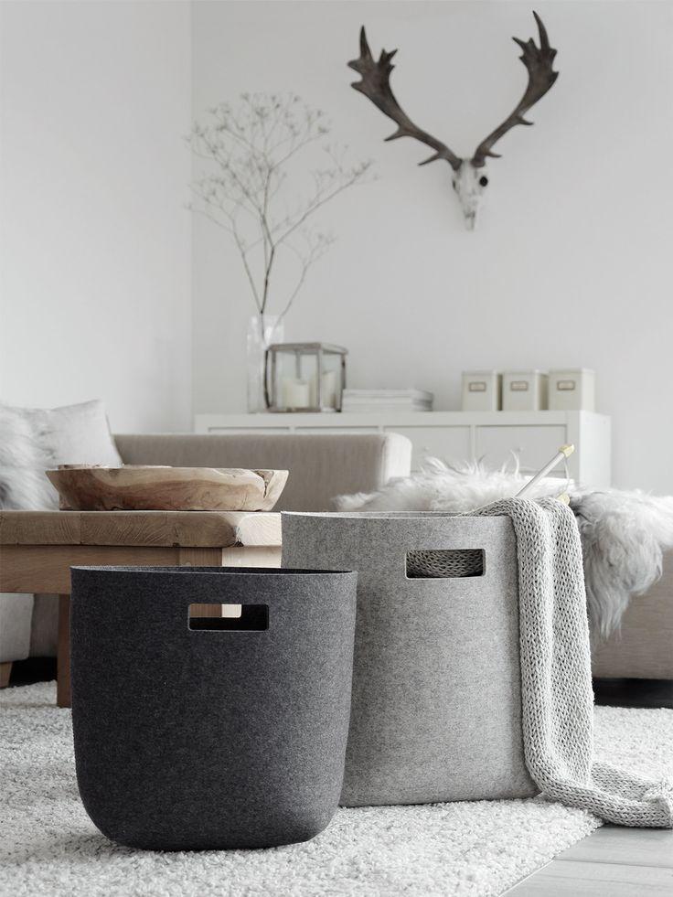 Filzkörbe im Wohnzimmer | Nachhaltige Designs | Filzkorb, Korb ...