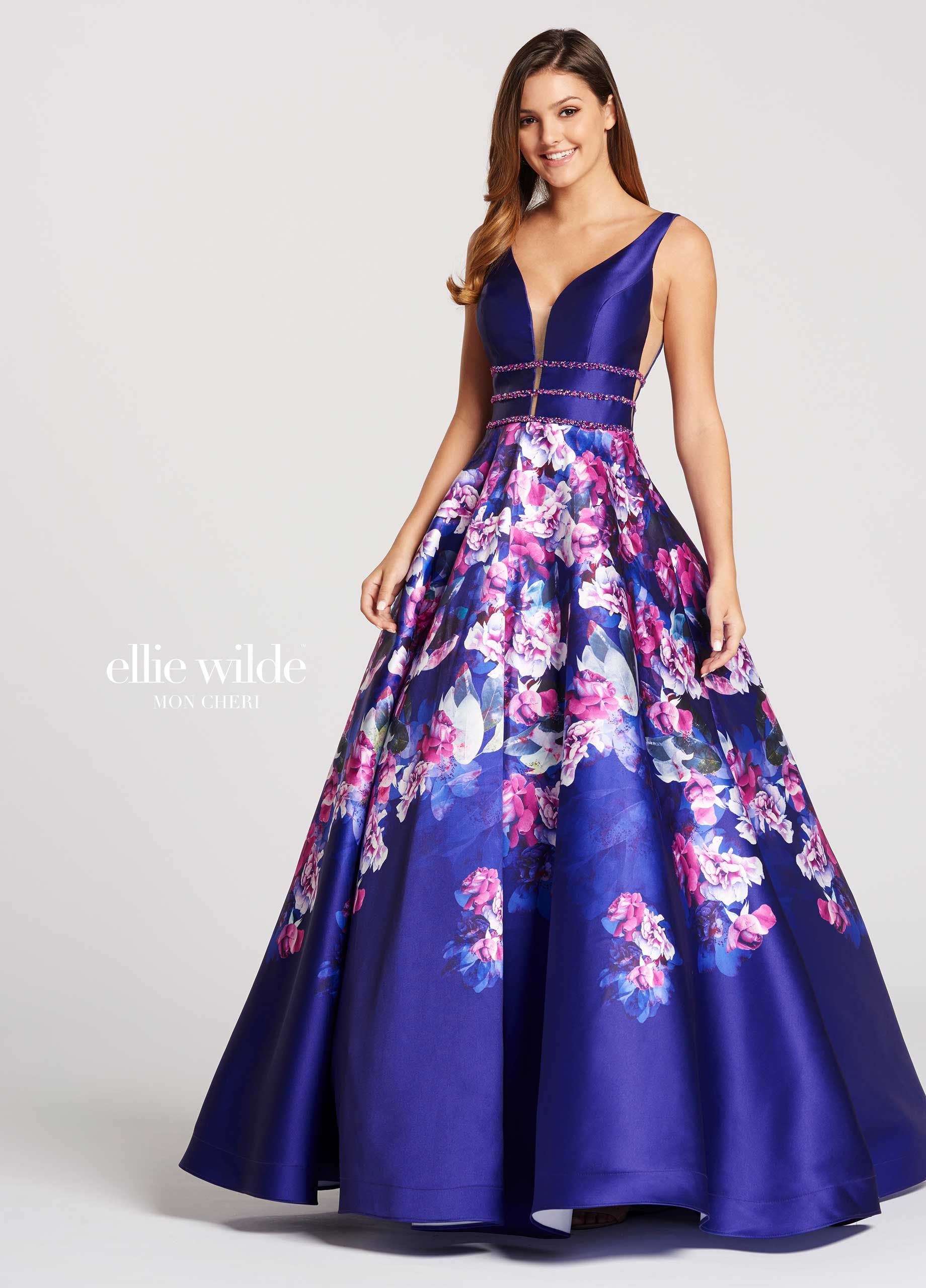 d6c0a76d42 Ellie Wilde EW118006 - Sleeveless A line printed Mikado prom dress features  plunging V neckline with illusion inset