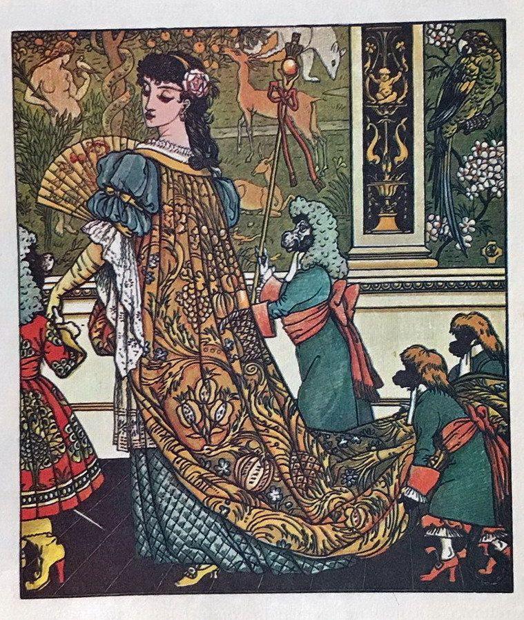 1870s Antique Walter Crane Print Litho Art Nouveau Print Beauty And The Beast Vintage Crane Print Or Walter Crane Children S Book Illustration Illustration