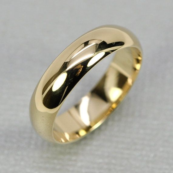 14k Yellow Gold Mens Wedding Band Half Round By Seababejewelry