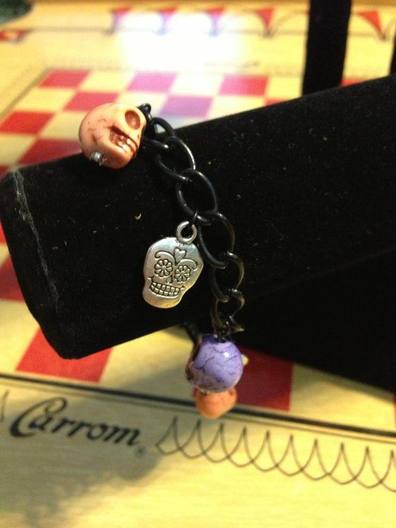 Orange Purple and Silver Sugar Skull Charm by VintageBellissima, $12.00