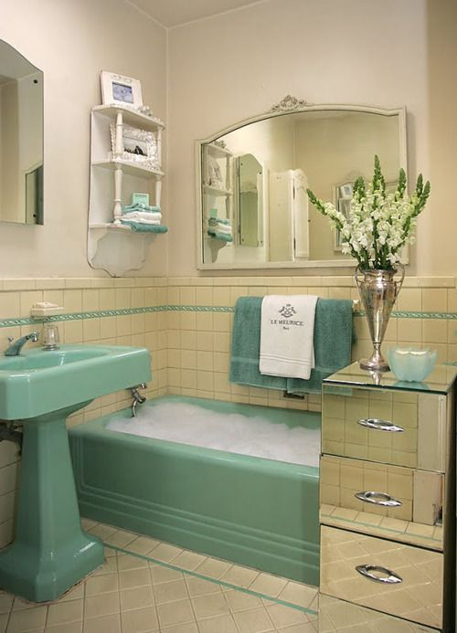 Great Way To Live With 50 S Style Bathroom Until Able Redo Retro