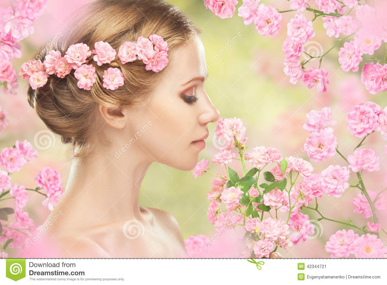 Face young beautiful woman pink flowers her hair beauty 42344721g face young beautiful woman pink flowers her hair izmirmasajfo