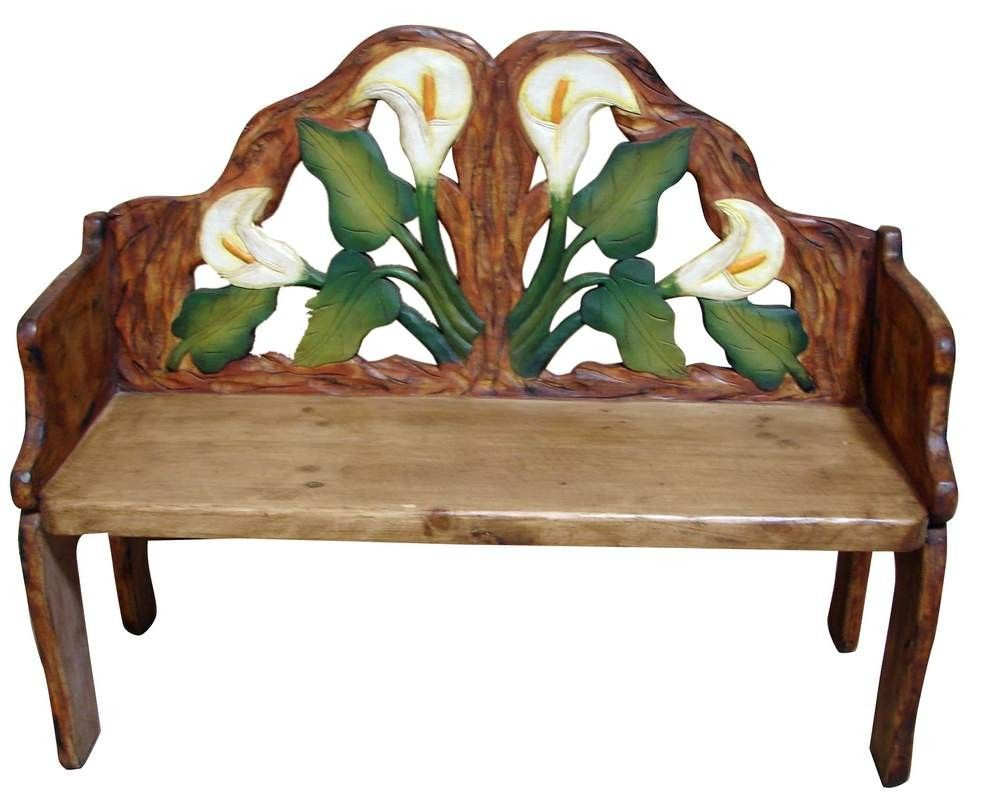 Calla lily hand painted solid wood mexican bench carved for Mexican furniture