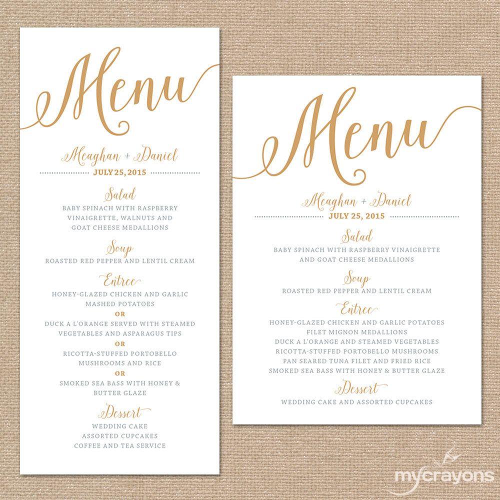 Wedding Dinner Menu Cards For Wedding Buffet Menu Ideas: Gold Wedding Menu Cards, Wedding Menu Template Gold