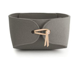 Storage Basket With Natural Leather Ties Felt Container Toy Bin Box Minimalist