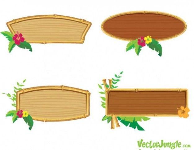 Bamboo wooden frame vector set Web Sprites Pinterest Wooden