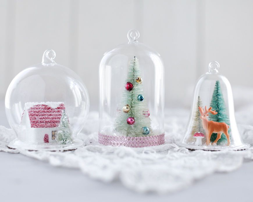 Glass Dome Ornament – Hanging Dome with Chipboard Base DIY Christmas Ornament   eBay   Diy snow ...
