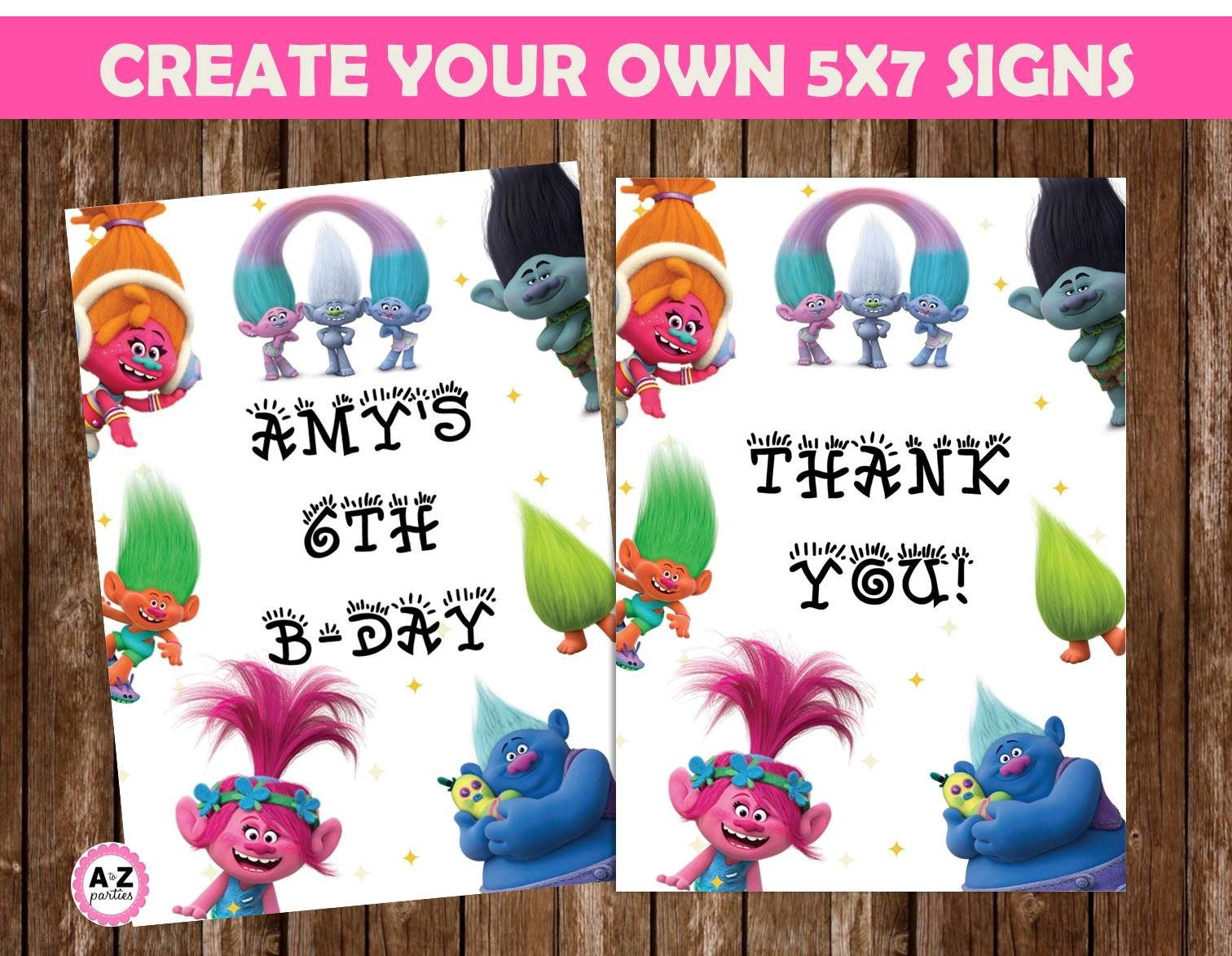 Editable Trolls Template Great For Invitations Thank You Cards