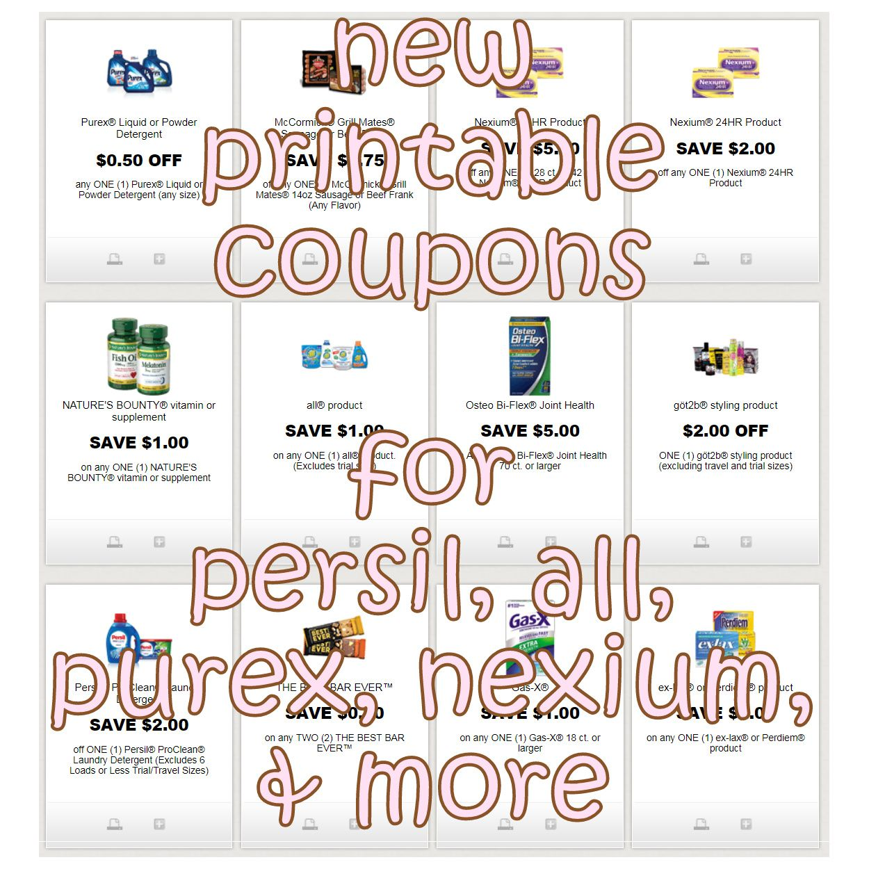 New Printable Coupons For Persil All Purex Nexium More Print Here Http Www Iheartcoupons Net P Redplum Htm Printable Coupons Coupons Joint Health