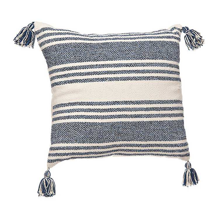 Cream And Blue Stripe Outdoor Pillow From Kirkland S In