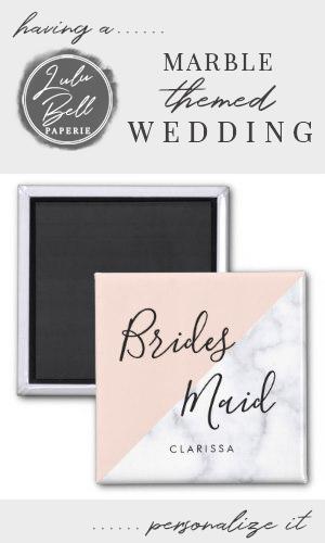 Elegant white marble  blush pink bridesmaid magnet