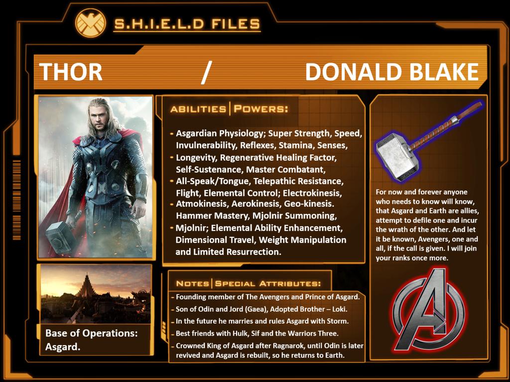 Thor S.H.I.E.L.D File Marvel Hammer Ragnarok