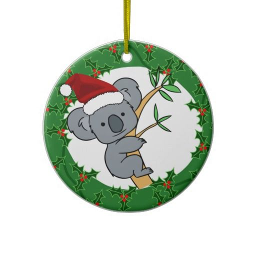 "Koala Santa - Australian Christmas Christmas Tree Ornament. Great for anyone from Australia or for those who love the ""Down Under""  Koala on one side and Aussie Greeting on the other side.  Very cute and unique!"