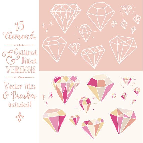 Pink Diamonds Clip Art Pack // Hand Drawn by thePENandBRUSH