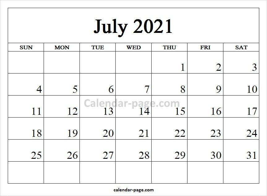 Printable Monthly Calendar 2021 July July Calendar November