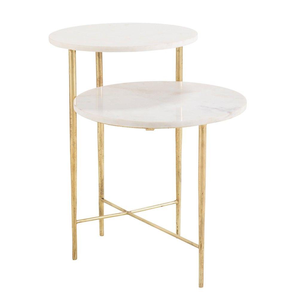 Tavolino Da Divano 2 Piani In Marmo Bianco Maisons Du Monde Marmor Beistelltisch Wohnzimmertische Beistelltisch Metall