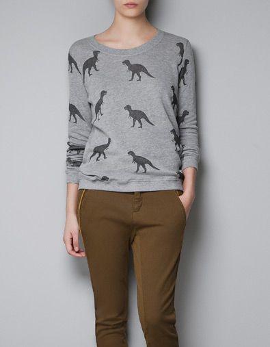 Dinosaur sweatshirt | Zara - my boys would love it if i wore this