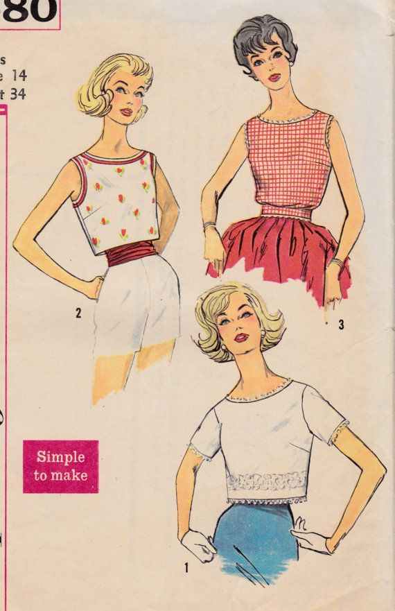 9620d367ef500a Welcome to So Vintage Patterns. 1960s Misses Pullover Tops Blouse  Sleeveless or by Sutlerssundries, $7.00