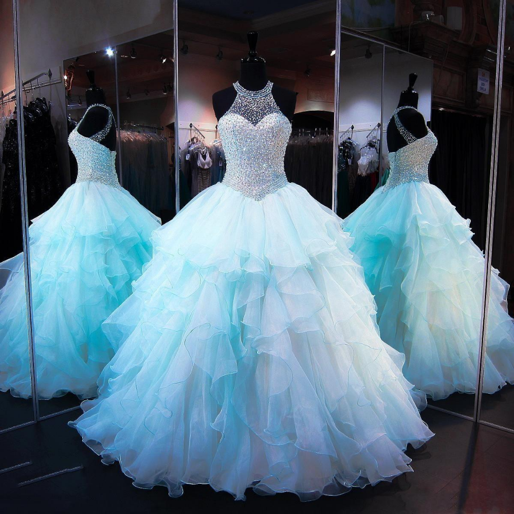 Aqua Quinceanera Dresses 2018 Modest Masquerade Ball Gown Prom Dress Sweet 16 Girls Keyhole Back Ruffles Sheer Neck Organza Full Length