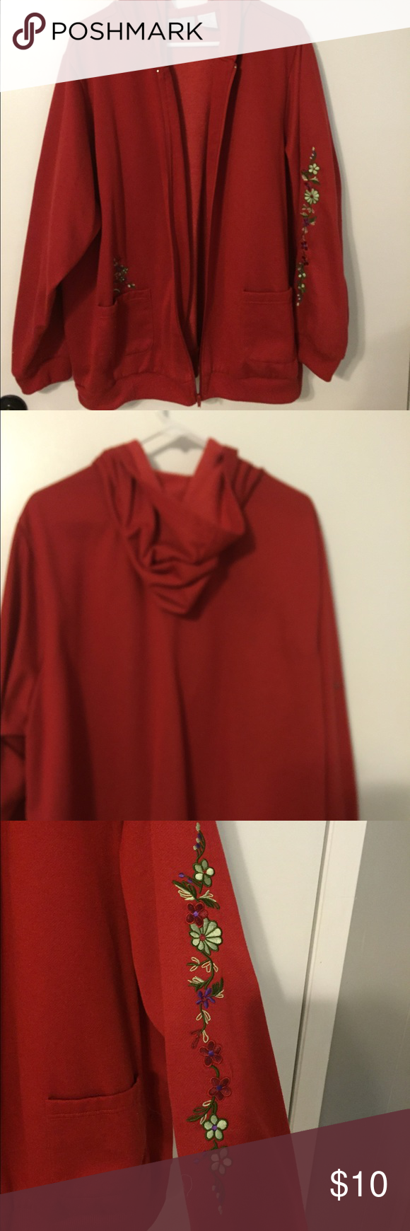 Red fleece hooded zip front coat with embroidery Red zip front hooded fleece coat with 2 pockets, embroidered flower details on left sleeve and right pocket. Beautiful Blair Jackets & Coats