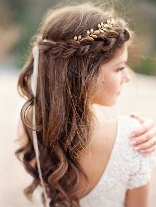 10 Pretty Braided Wedding Hairstyles 9 Fringe With Loose Curls Easy