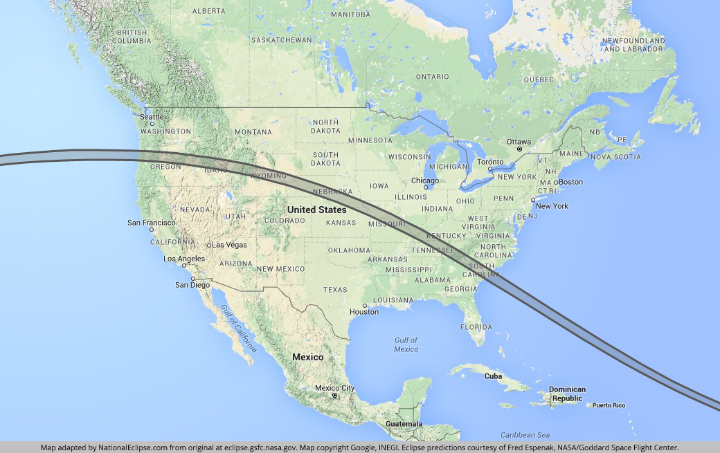 Total Solar Eclipse August 21 2017 Usa Map