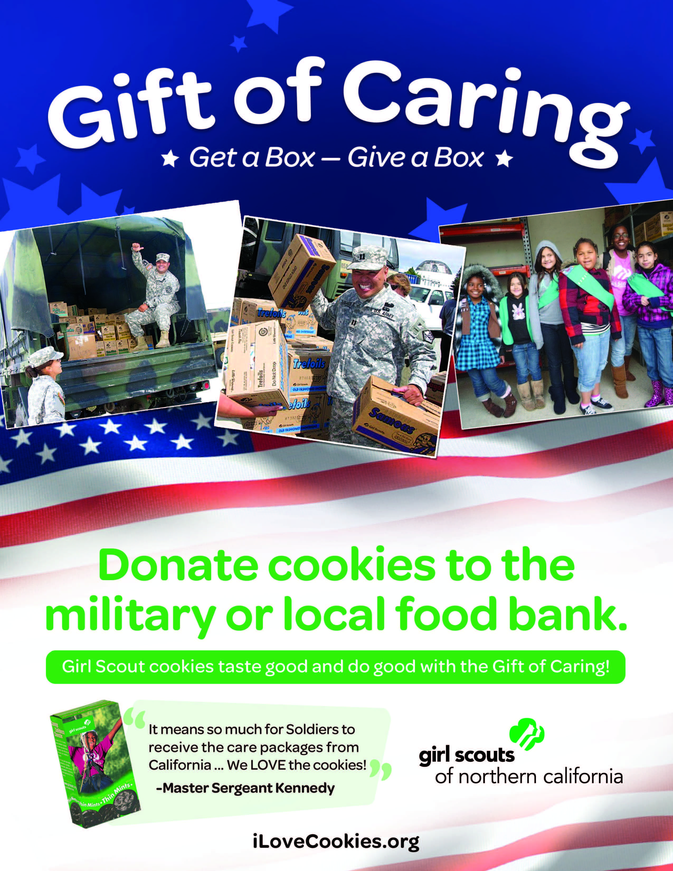 you can donate girl scout cookies to military overseas or