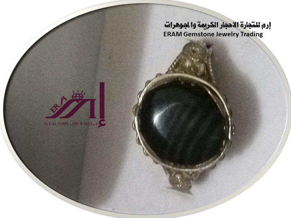 خواتم عقيق نسائي يمني جزع اسود مقلم طبيعي 100 Agate Gemstones Jewelry Gemstone Jewelry