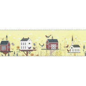 Wallpaper Border Warren Kimble Country Bird Houses On Yellow