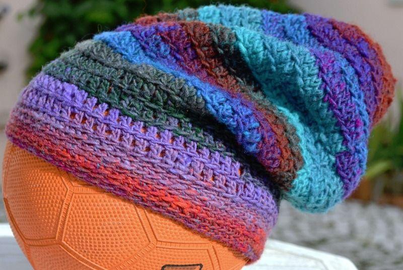 Beanie Cap Crochet Hat Striped Noro Yarn  from crossedcrafts by DaWanda.com